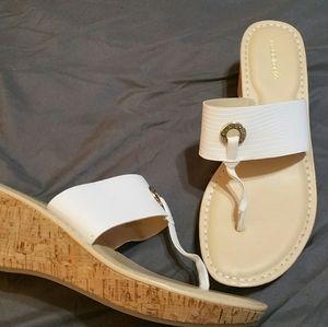 New Liz Claiborne White and Tan Sandels